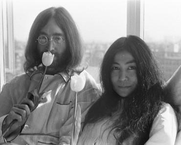 John Lennon and Yoko Ono in Amsterdam 1969.